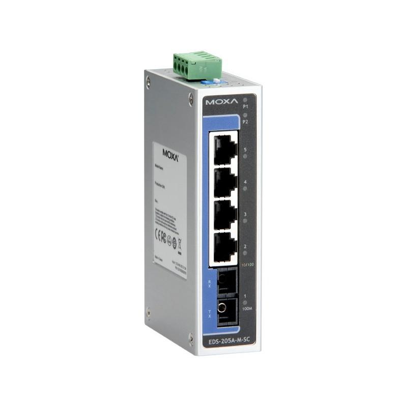 Switch EDS-205A - 4 10/100BastT(X) ports, 1 x 100BaseFX multi-mode, SC